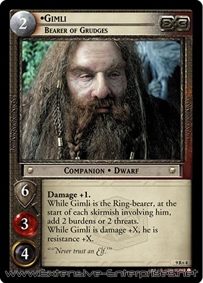 Gimli, Bearer of Grudges
